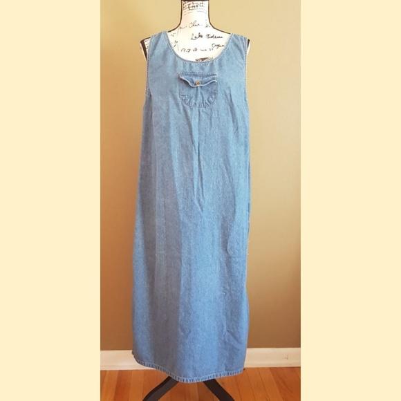 Route 66 Sleeveless Jean Maxi Dress Plus size